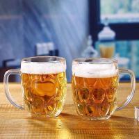 【美妆大牌日,领券减50】2只装啤酒杯带把加厚玻璃杯大号扎啤饮料果汁杯KTV酒吧玻璃水杯泡茶杯
