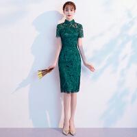 2018新款优雅时尚女旗袍旗袍2018新款时尚改良版小香风短款年轻少女优雅中国 绿色短款