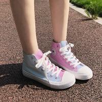 紫外线变色高帮帆布鞋女秋季学生韩版百搭ulzzang小白鞋女潮 白色