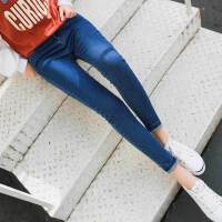 牛仔裤女春秋2018新款韩版弹力紧身小脚韩版显瘦烟灰色铅笔裤长裤