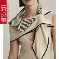 上海故事韩版新款出口真丝双绉大方巾100%桑蚕丝条纹几何打孔丝巾