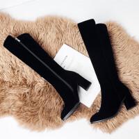 2019不过膝靴长靴女磨砂显瘦尖头粗跟高筒靴冬季高跟长筒靴子 黑色