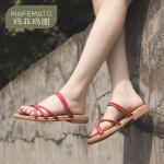 玛菲玛图凉鞋女2019新款时尚夏季真皮平底罗马女鞋子交叉带两穿一字凉拖鞋611-3