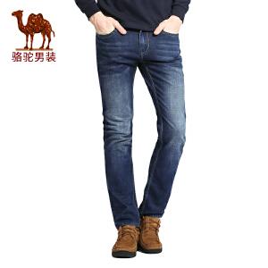 骆驼男装 春秋季时尚男士商务休闲直筒微弹长裤子中腰牛仔裤