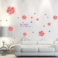 可移除墙贴纸贴画客厅卧室房间沙发电视背景墙壁装饰桃花花朵唯美