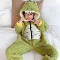 �和�珊瑚�q�B�w睡衣秋冬季男童小童卡通加厚加�q法�m�q����家居服