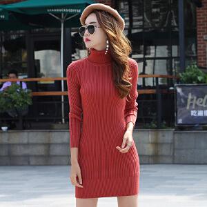 女秋装新款连衣裙韩版显瘦长袖内搭高领针织中长款毛衣裙子