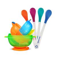 【当当自营】满趣健(munchkin)吸盘碗3个装+white hot 感温安全勺套组 宝宝辅食碗防滑碗 婴儿勺硅胶勺
