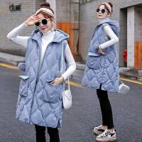 秋冬季孕妇中长款马甲加厚保暖背心连帽宽松棉衣外套