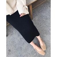 秋冬加厚高腰含毛针织包臀裙半身裙中长款过膝后开叉一步裙黑灰色