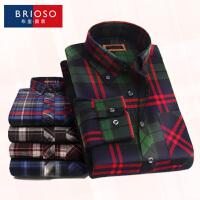 BRIOSO 男士格子衬衫 秋装男长袖衬衫 基础百搭休闲磨毛款修身大码衬衣 ND24795