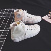 高帮帆布鞋女鞋紫外线变色鞋子秋季光感2019百搭韩版秋鞋潮鞋 白色(8592 高帮)