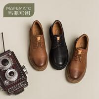 【春款预售 年后发货】玛菲玛图小皮鞋女英伦风黑色2020新款鞋子休闲学院文艺lolita中跟真皮单鞋688-15SH