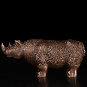 《奇特犀牛摆件》寿山石取巧全手工博意精雕寓意吉祥