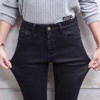 黑色牛仔裤女大码紧身胖mm烟灰色韩版2017新款长裤子显瘦加绒加厚 灰色 加绒 919