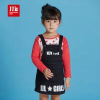 jjlkids季季乐童装儿童连衣裙女中小童黑色背带牛仔裙松紧裤腰吊带裙GQQ63253