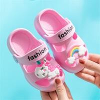 儿童拖鞋夏洞洞鞋男童女童宝宝凉拖鞋防滑小孩室内软底卡通沙滩鞋