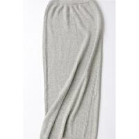 秋冬新款女抽条显瘦包臀脚踝高腰中长款针织半身裙羊绒裙羊毛裙