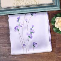 苏州丝绸围巾 苏绣丝巾女迷迭香粉紫双层刺绣披肩妈妈外事礼品