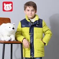 小猪班纳童装男童羽绒服短款儿童外套男中大童秋冬款休闲保暖上衣