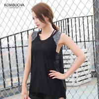 【女神特惠价】Kombucha瑜伽健身背心女士速干透气网纱面料健身跑步宽松背心罩衫JCBX237