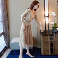 2018秋女士连衣裙套装裙子春秋装女2018新款时尚毛衣长袖半身裙两件套中长款连衣