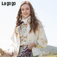 Lagogo/拉谷谷2019新款女圆领两侧插袋灯笼袖短外套ICWW539A37