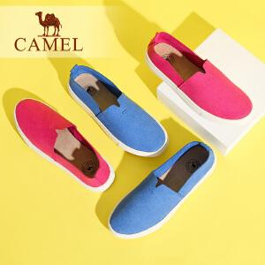 Camel/骆驼女鞋  新品休闲简约纯色百搭平底单鞋舒适圆头新款乐福鞋