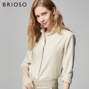 BRIOSO 女士长袖衬衫磨毛秋装新款小尖领韩版长袖纯色百搭衬衣 工装打底女衬衫  WE20895