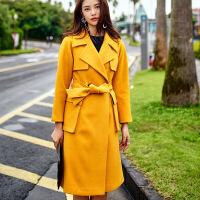 新女大衣2018早春新款原创元素时尚街拍潮流宽松羊绒大衣外套女