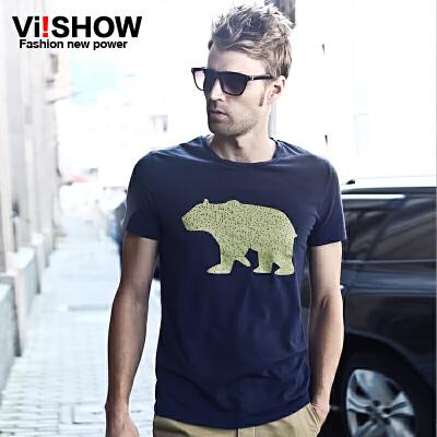 viishow夏季新款短袖T恤 欧美风尚休闲纯色潮男修身短袖T恤满199减20/满299减30/满499减60 全场包邮