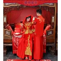 2018新款结婚礼服中式古装男女套装新�O新娘新婚嫁衣喜庆敬酒服装 +盖头