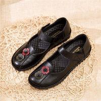 中老年妈妈鞋舒适软底单鞋平底奶奶鞋老人中年皮鞋防滑女鞋春秋季