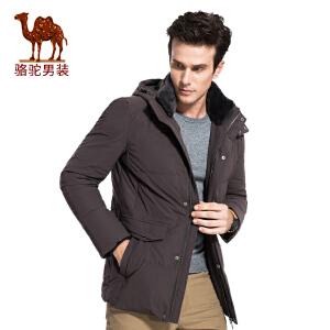 骆驼男装 2017年冬季新款可脱卸帽双层领外穿男青年纯色羽绒服