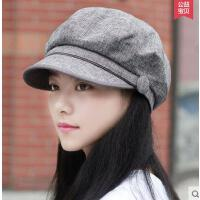 麻质八角帽帽子女户外新款韩版休闲潮贝雷帽女士时尚简约鸭舌帽画家帽显瘦