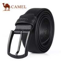Camel骆驼腰带新款男士牛皮皮带亚光方扣牛皮软面针扣男腰带
