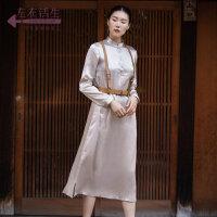 生活在左2019秋季女装新品长袖气质连衣裙宽松显瘦复古中长款裙子