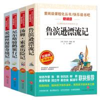 鲁滨逊漂流记+汤姆・索亚历险记+爱丽丝漫游奇境记+尼尔斯骑鹅旅行记/快乐读书吧六年级下册(套装共4册)