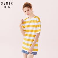 35森马短袖T恤女2019春季新款宽松圆领套头撞色条纹纯棉洋气上衣