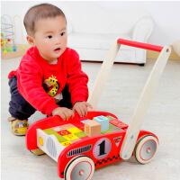 木丸子儿童多功能字母学习积木车 儿童木制手推车木质学步车