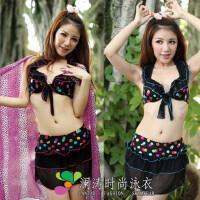 澜涛钢托比基尼裙式分体 韩国温泉女游泳衣 1315