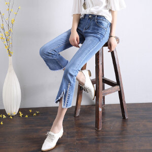 Modern idea2017新款夏季微喇叭时尚潮流学生中腰九分牛仔裤
