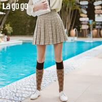 Lagogo拉谷谷2020春新款短裙高腰A字百褶裙小众复古格子半身裙女