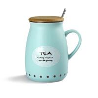 简约复古牛奶杯 带盖勺陶瓷杯子 可爱大肚马克杯咖啡杯 创意情侣水杯MWF01068