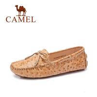 骆驼女鞋 春季新款豆豆鞋 舒适休闲 牛皮蝴蝶结圆头平底单鞋