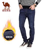 骆驼男装 秋季新款加绒加厚男士牛仔裤简约商务休闲男长裤子