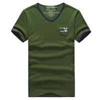 3123夏装 新款战地吉普 AFS JEEP 纯棉弹力V领 短袖T恤衫 大码polo衫 男士半袖体恤衫