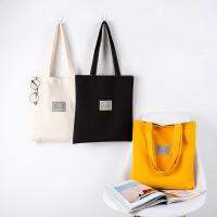 简约大容量手提袋购物袋便携帆布包女学生文艺小清新单肩环保袋子