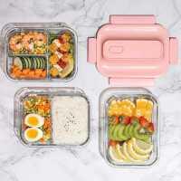 玻璃饭盒微波炉加热专用碗密封上班族带饭保鲜分隔型便当餐盒学生
