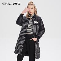 ERAL/艾莱依芭比加厚修身时尚POLO领条纹女士羽绒服中长款16108